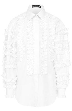 Приталенная хлопковая блуза с оборками Dolce & Gabbana белая | Фото №1