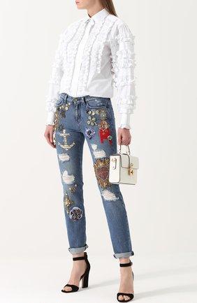 Приталенная хлопковая блуза с оборками Dolce & Gabbana белая | Фото №2