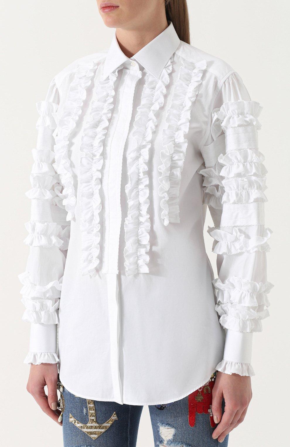 Приталенная хлопковая блуза с оборками Dolce & Gabbana белая | Фото №3