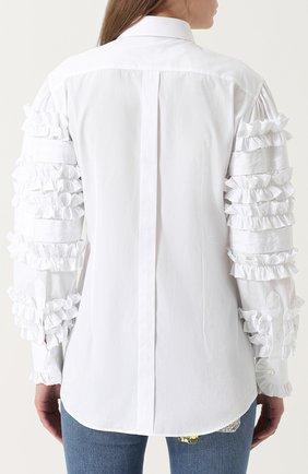 Приталенная хлопковая блуза с оборками Dolce & Gabbana белая | Фото №4