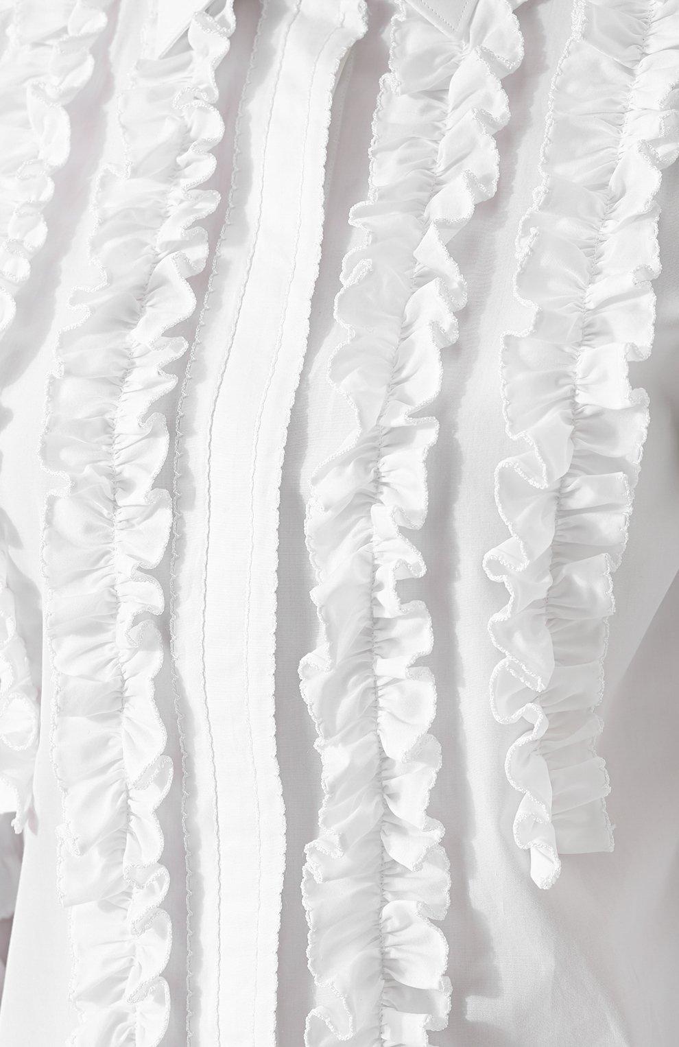 Приталенная хлопковая блуза с оборками Dolce & Gabbana белая | Фото №5