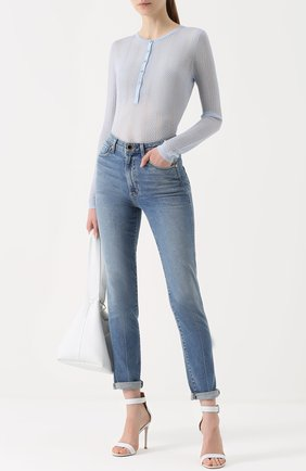 Кашемировый облегающий пуловер Gabriela Hearst светло-голубой | Фото №1