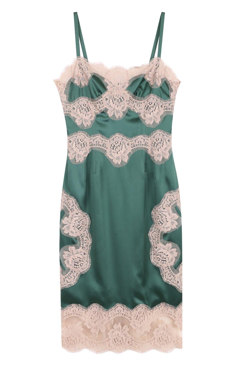 Шелковое платье-комбинация с контрастной отделкой | Фото №1
