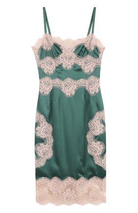 Шелковое платье-комбинация с контрастной отделкой Dolce & Gabbana зеленое | Фото №1