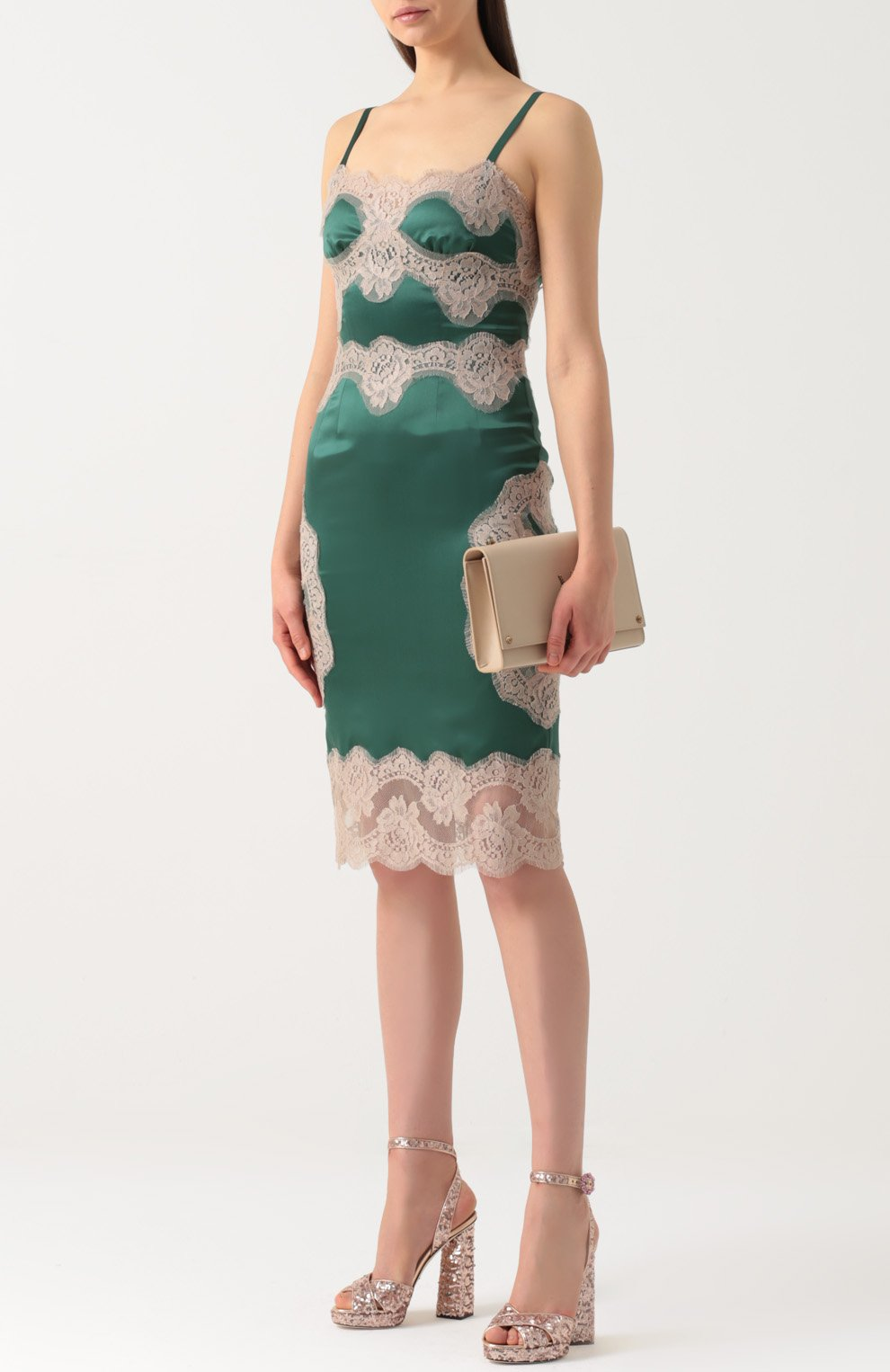 Шелковое платье-комбинация с контрастной отделкой Dolce & Gabbana зеленое | Фото №2