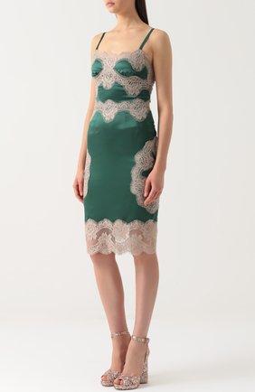 Шелковое платье-комбинация с контрастной отделкой Dolce & Gabbana зеленое | Фото №3