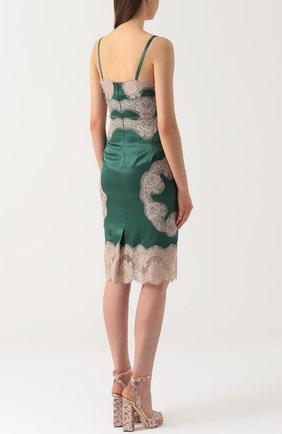 Шелковое платье-комбинация с контрастной отделкой Dolce & Gabbana зеленое | Фото №4