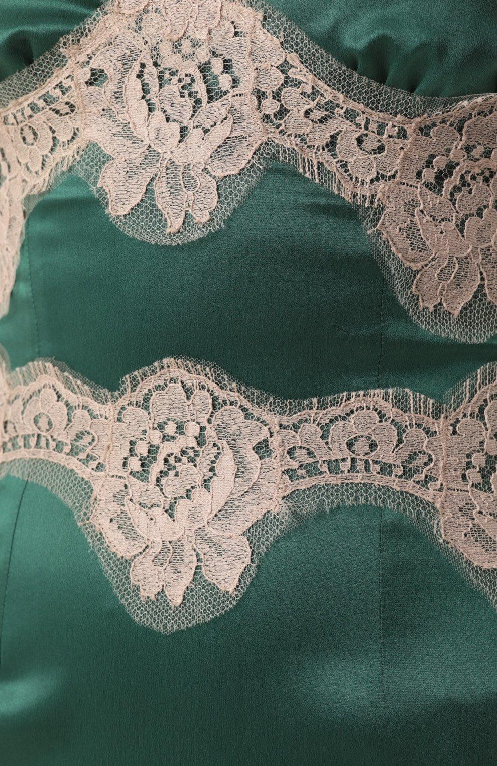 Шелковое платье-комбинация с контрастной отделкой Dolce & Gabbana зеленое | Фото №5