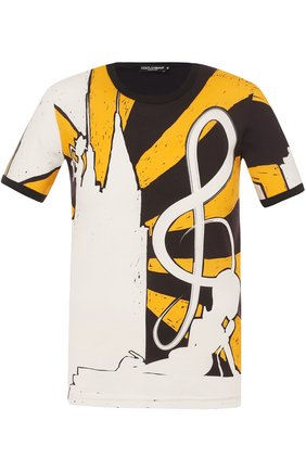 Хлопковая футболка с принтом Dolce & Gabbana желтая   Фото №1