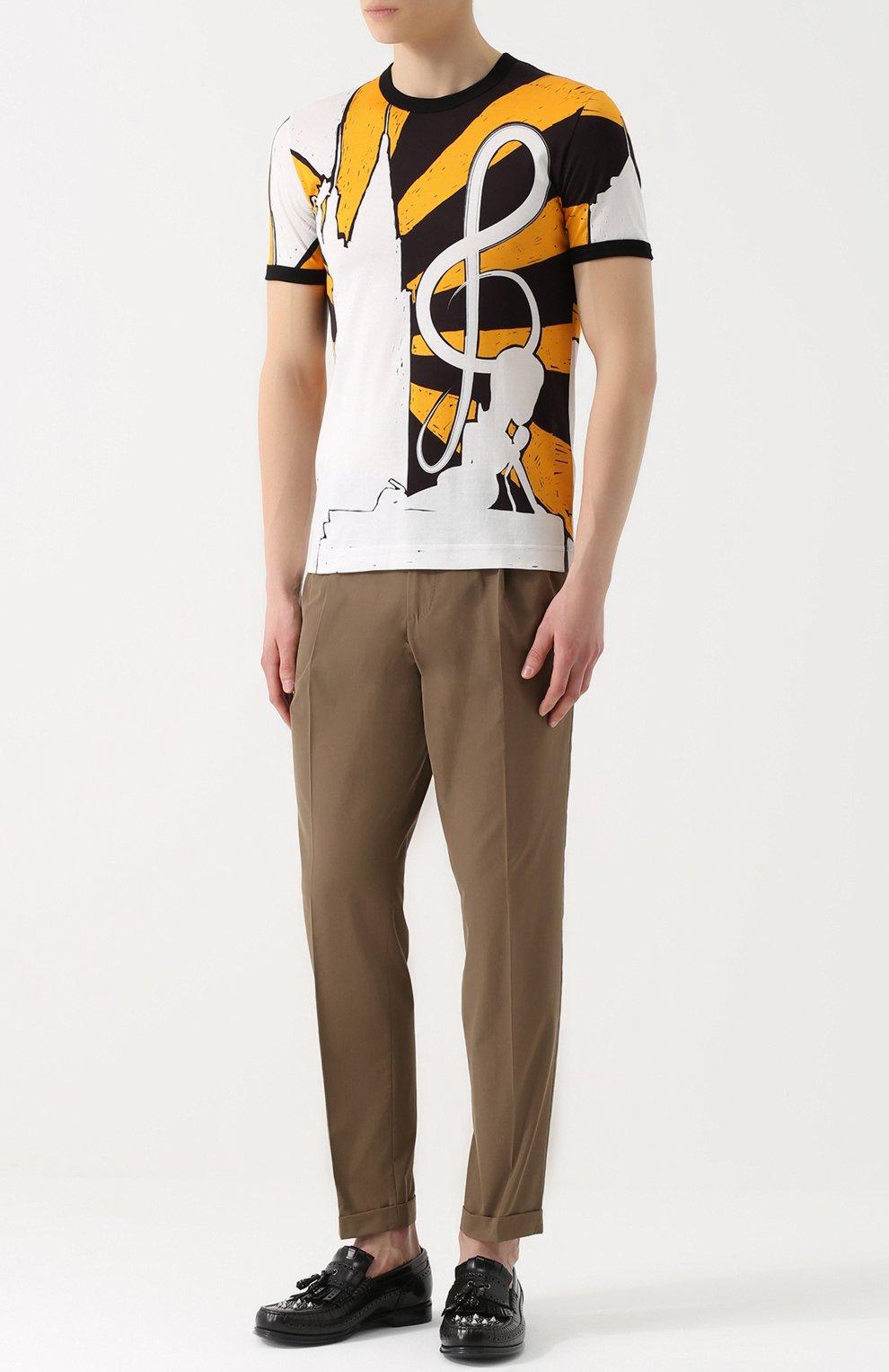 Хлопковая футболка с принтом Dolce & Gabbana желтая   Фото №2