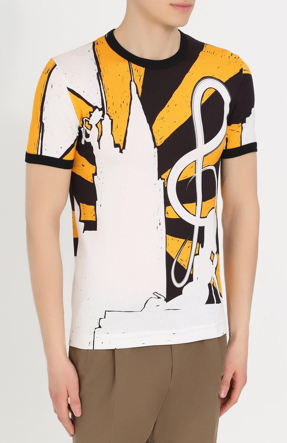Хлопковая футболка с принтом Dolce & Gabbana желтая   Фото №3