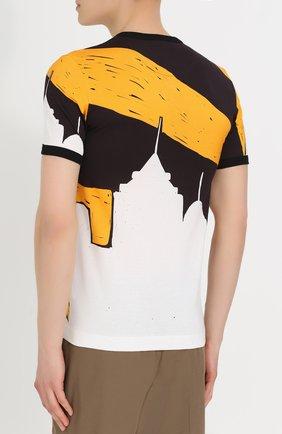 Хлопковая футболка с принтом Dolce & Gabbana желтая   Фото №4