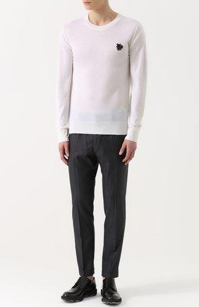 Кашемировый джемпер тонкой вязки с вышивкой Dolce & Gabbana белый | Фото №2