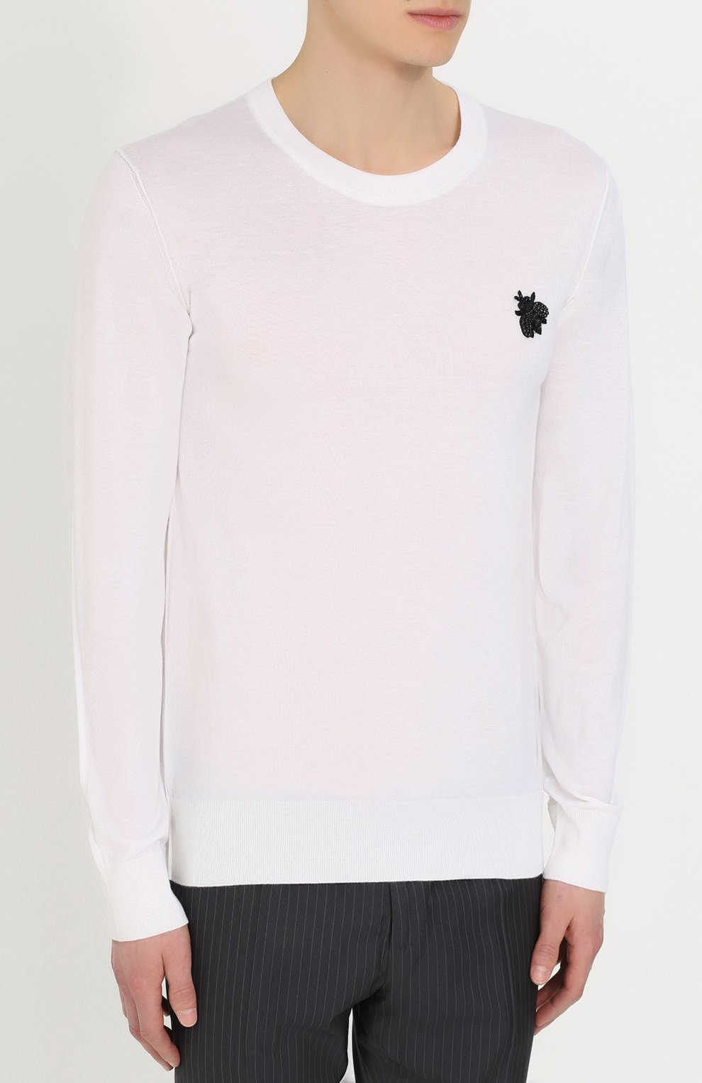 Кашемировый джемпер тонкой вязки с вышивкой Dolce & Gabbana белый | Фото №3