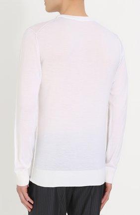 Кашемировый джемпер тонкой вязки с вышивкой Dolce & Gabbana белый | Фото №4