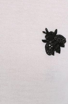 Кашемировый джемпер тонкой вязки с вышивкой Dolce & Gabbana белый | Фото №5