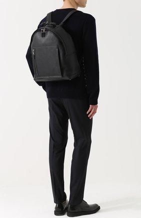 Кожаный рюкзак с внешним карманом на молнии Pal Zileri черный   Фото №1