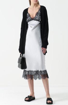 Шелковое платье-макси с кружевной отделкой Natasha Zinko серое   Фото №1