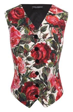 Приталенный жилет с цветочным принтом Dolce & Gabbana розовый | Фото №1