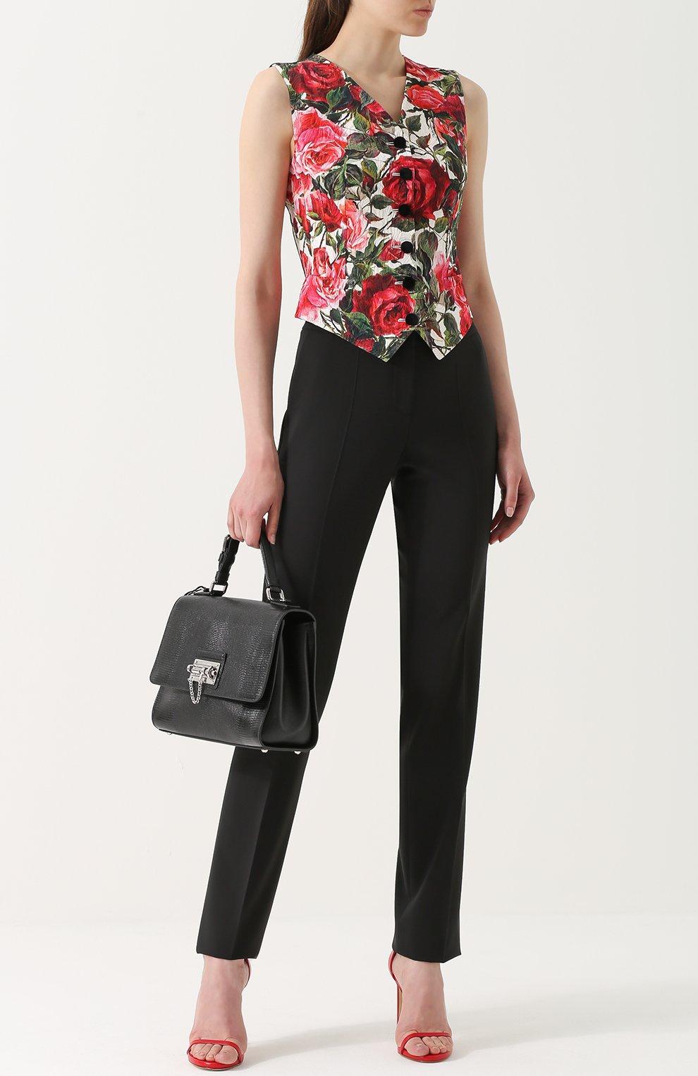 Приталенный жилет с цветочным принтом Dolce & Gabbana розовый | Фото №2