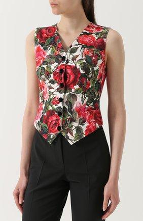 Приталенный жилет с цветочным принтом Dolce & Gabbana розовый | Фото №3