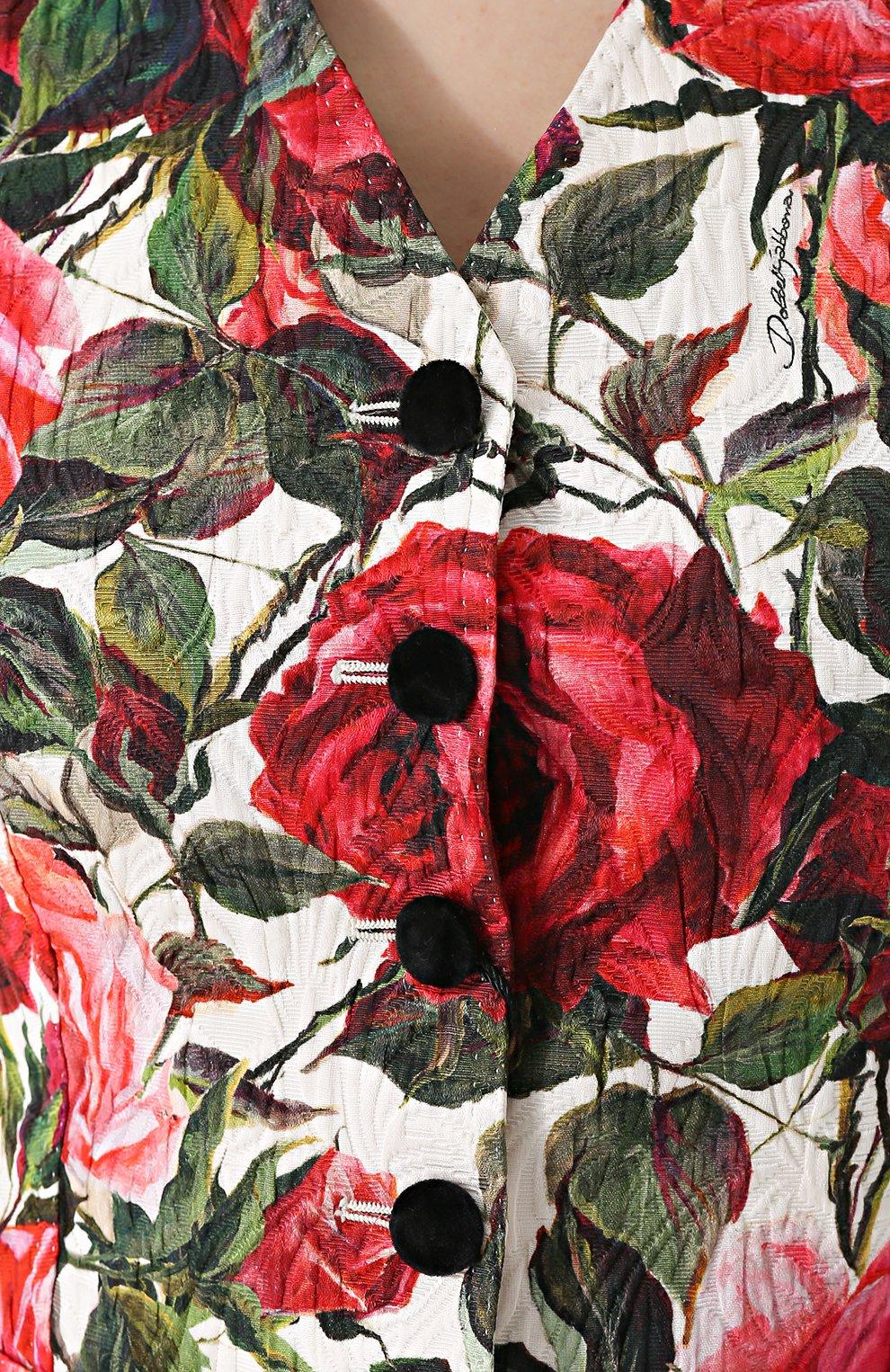 Приталенный жилет с цветочным принтом Dolce & Gabbana розовый | Фото №5