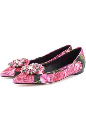Балетки Bellucci с цветочным принтом и брошью Dolce & Gabbana розовые   Фото №1