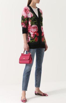 Балетки Bellucci с цветочным принтом и брошью Dolce & Gabbana розовые   Фото №2