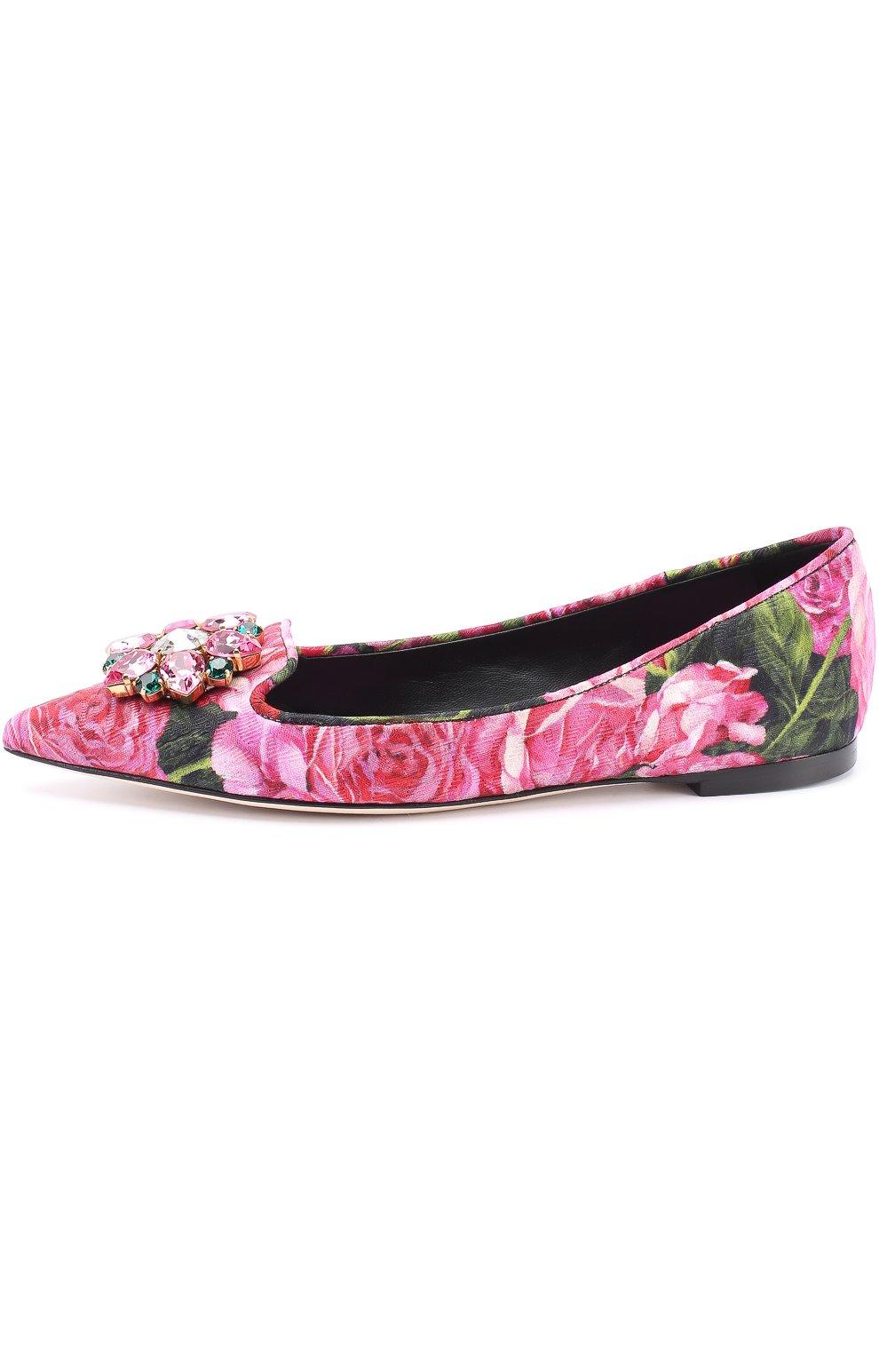 Балетки Bellucci с цветочным принтом и брошью Dolce & Gabbana розовые   Фото №3
