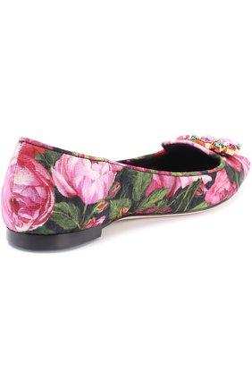 Балетки Bellucci с цветочным принтом и брошью Dolce & Gabbana розовые   Фото №4