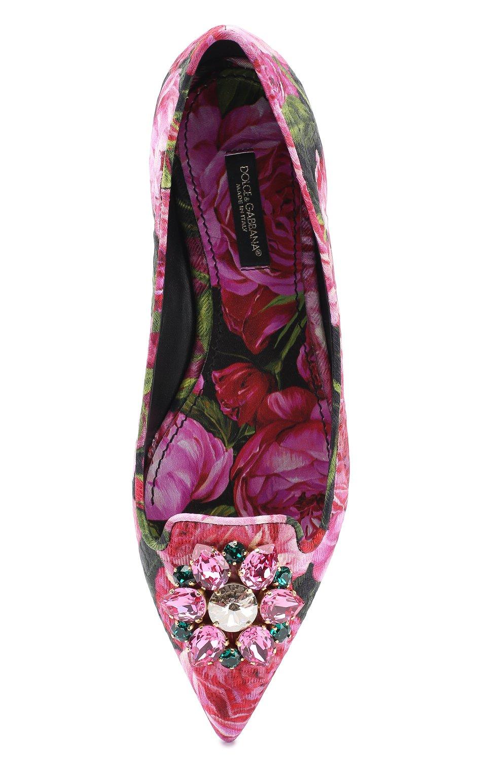 Балетки Bellucci с цветочным принтом и брошью Dolce & Gabbana розовые   Фото №5