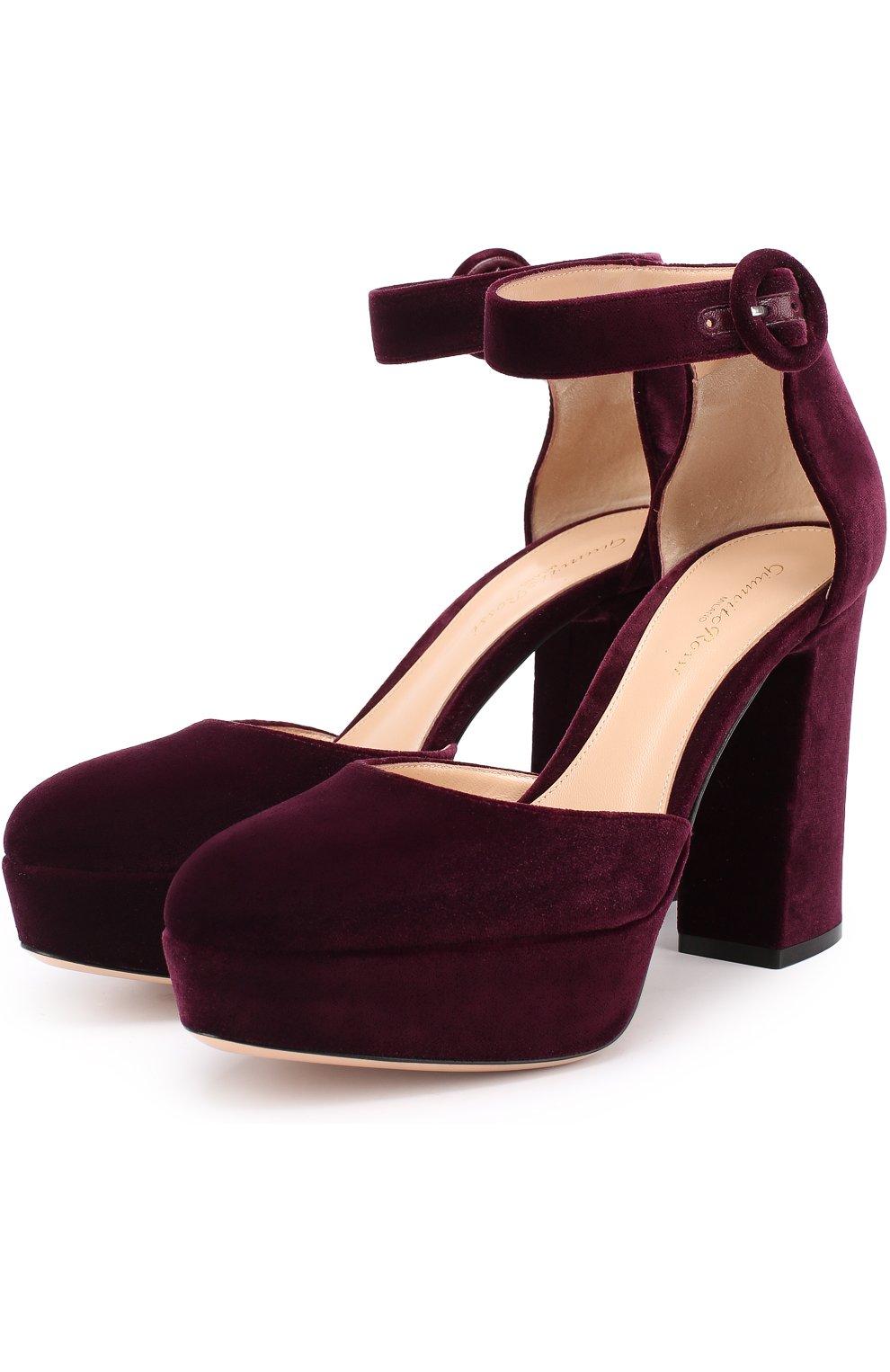 8d458f7ee Бархатные туфли на устойчивом каблуке и платформе Gianvito Rossi  темно-фиолетовые   Фото №1