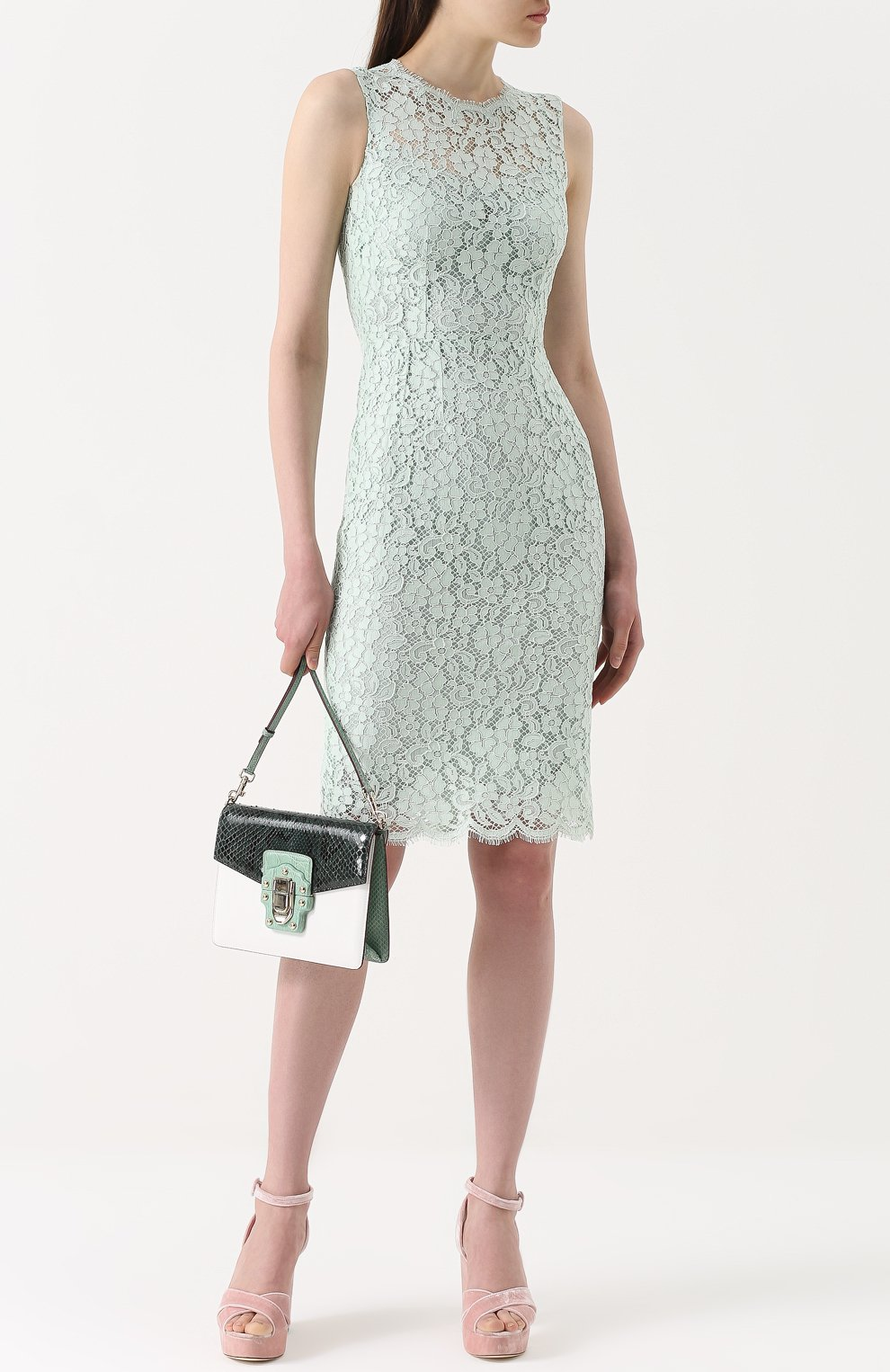 Сумка Lucia с отделкой из кожи питона и каймана Dolce & Gabbana зеленая цвета | Фото №2