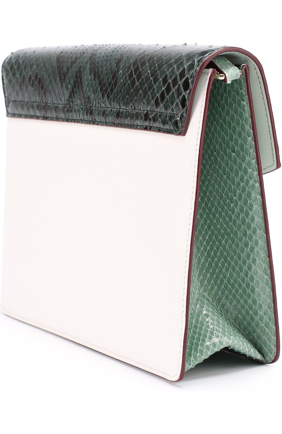 Сумка Lucia с отделкой из кожи питона и каймана Dolce & Gabbana зеленая цвета | Фото №3