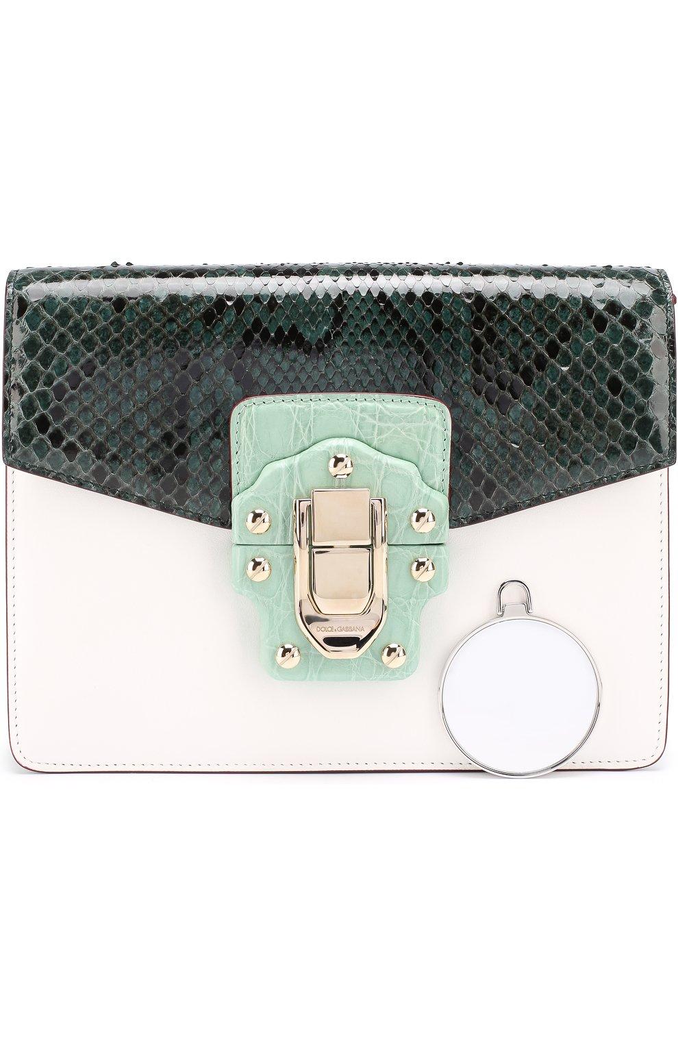 Сумка Lucia с отделкой из кожи питона и каймана Dolce & Gabbana зеленая цвета | Фото №5