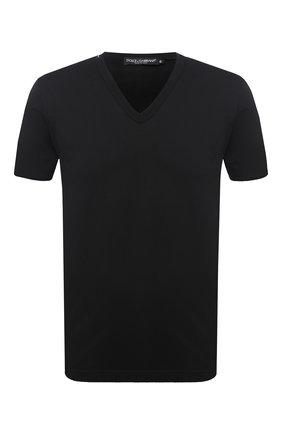 Хлопковая футболка с V-образным вырезом Dolce & Gabbana черная   Фото №1