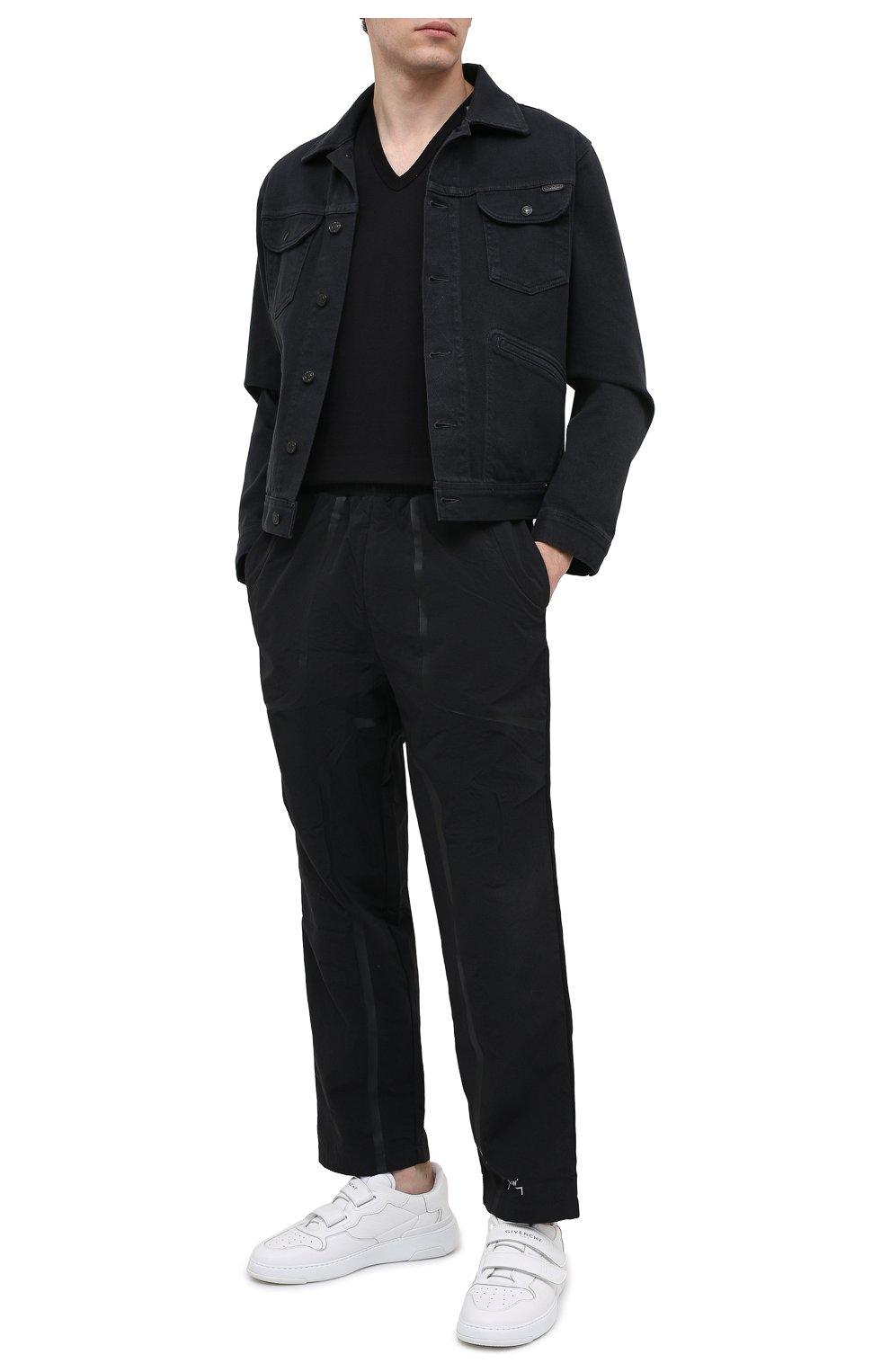 Хлопковая футболка с V-образным вырезом Dolce & Gabbana черная   Фото №2