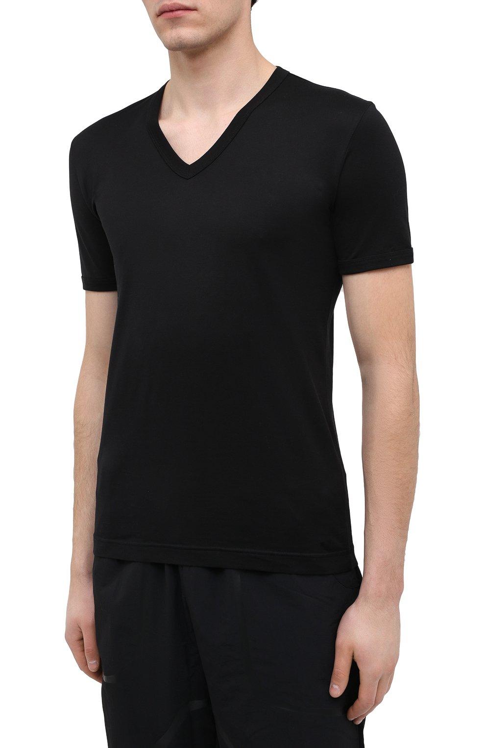 Хлопковая футболка с V-образным вырезом Dolce & Gabbana черная   Фото №3