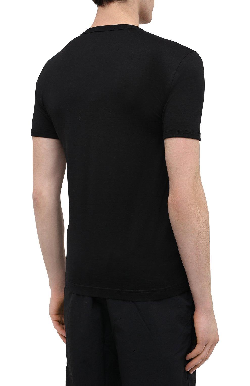 Хлопковая футболка с V-образным вырезом Dolce & Gabbana черная   Фото №4
