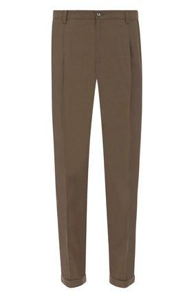 Хлопковые брюки прямого кроя Dolce & Gabbana бежевые   Фото №1