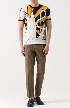 Хлопковые брюки прямого кроя Dolce & Gabbana бежевые   Фото №2