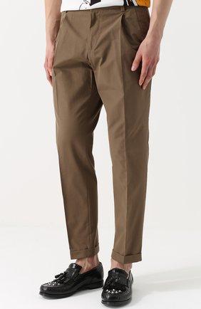 Хлопковые брюки прямого кроя Dolce & Gabbana бежевые   Фото №3