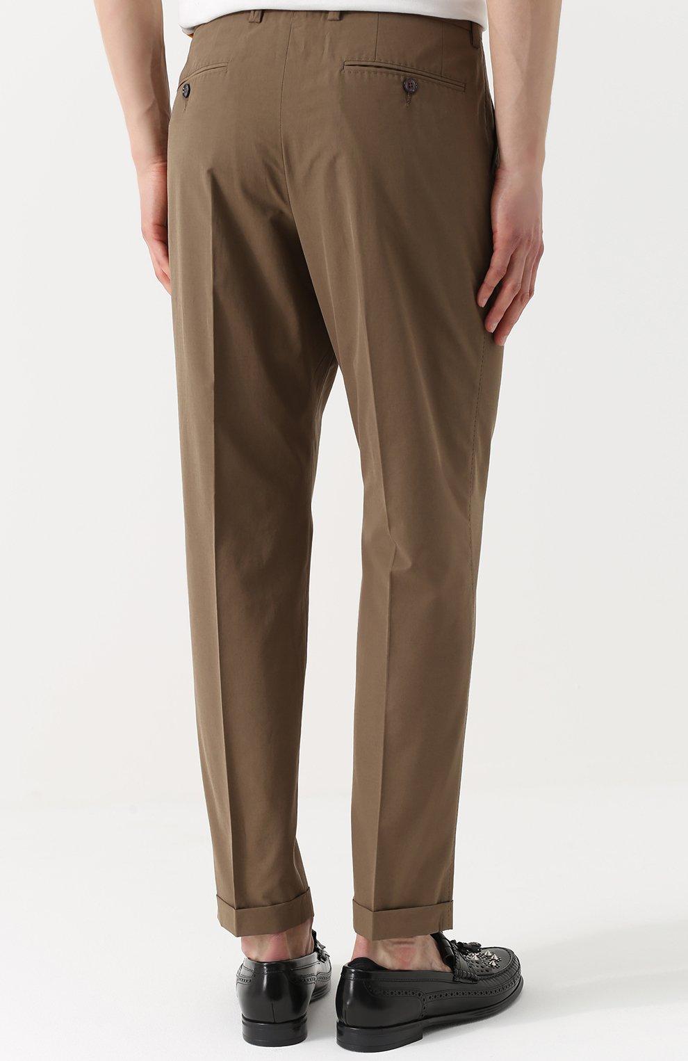 Хлопковые брюки прямого кроя Dolce & Gabbana бежевые   Фото №4