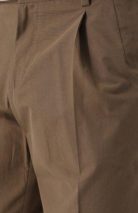 Хлопковые брюки прямого кроя Dolce & Gabbana бежевые   Фото №5