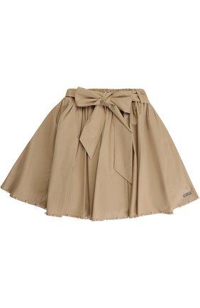 Мини-юбка с жемчужинами и широким поясом | Фото №1
