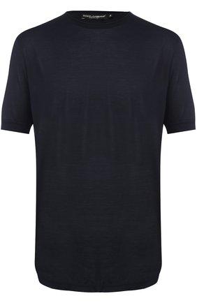 Шелковая футболка с круглым вырезом Dolce & Gabbana синяя | Фото №1