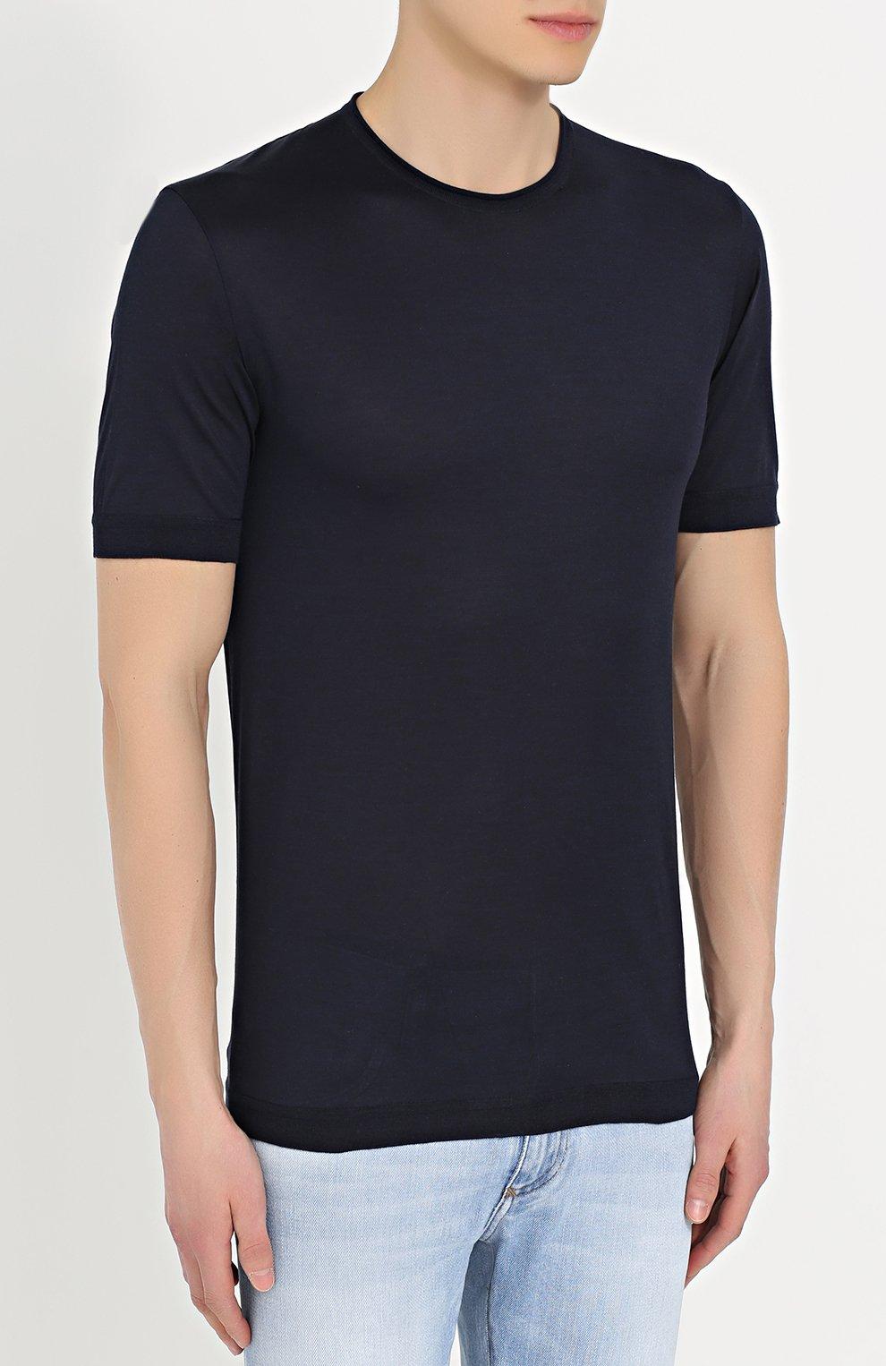 Шелковая футболка с круглым вырезом Dolce & Gabbana синяя | Фото №3