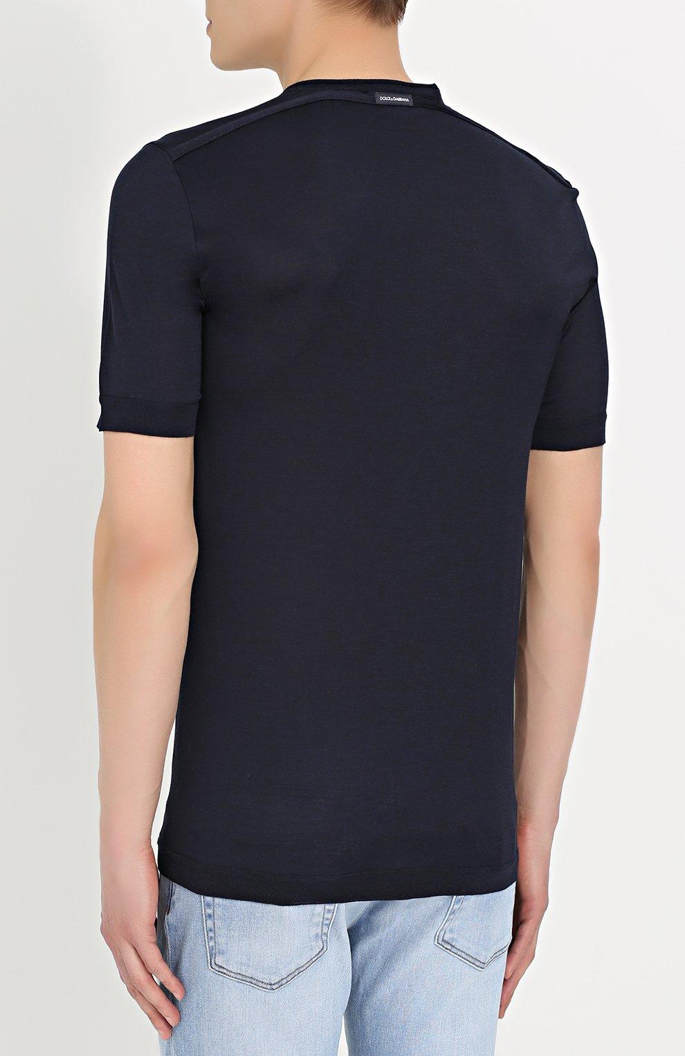 Шелковая футболка с круглым вырезом Dolce & Gabbana синяя | Фото №4