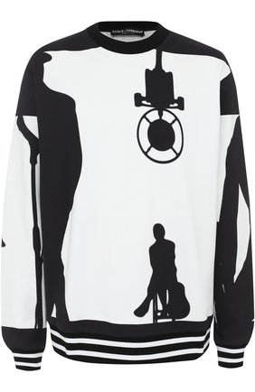 Хлопковый свитшот с принтом | Фото №1