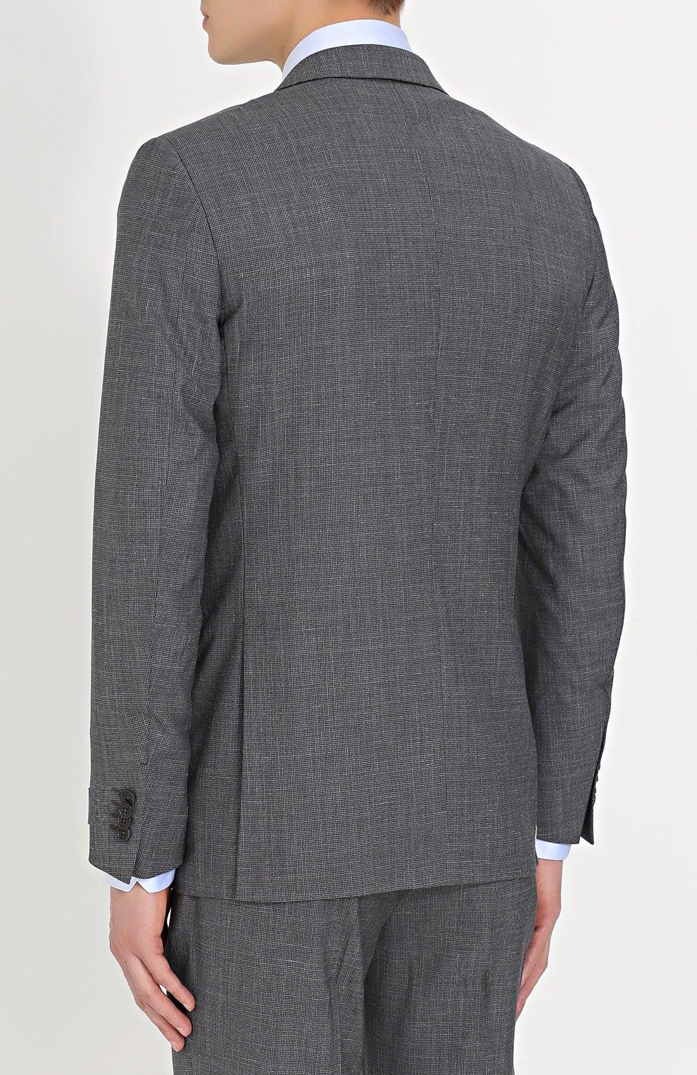 6cba70abb571 Мужской темно-серый костюм из смеси шерсти и льна ERMENEGILDO ZEGNA ...